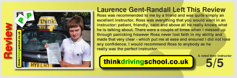 Laurence gent-randall passed with ross dunton from guildford driving school