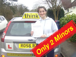 jasmin passed with only 2 minors she learned with think drivng school in farnham