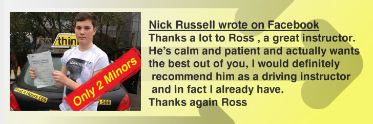 nick left a great review for ross dunton from think driving school