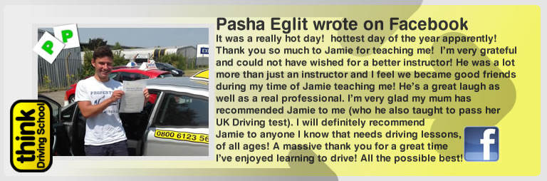 pasha eglit left this awesome review of think drivng school