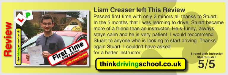 Passed with think driving school in February 2017 and left this review