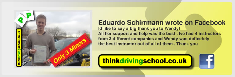Eduardo Schirrmann passed with driving instructor Wendy McLaren from Bordon And left this awesome review of think driving school