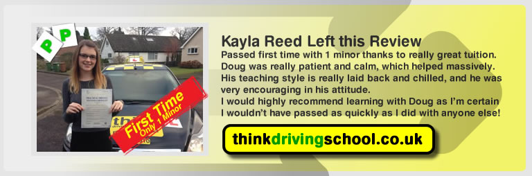 Kayla Reed passed with driving instructor Doug edwards and lef this awesome revies of think driving school