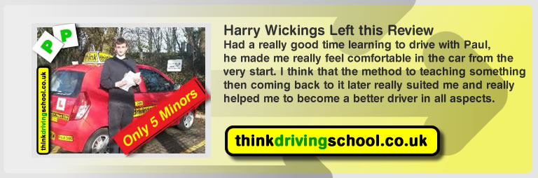 harry wickings passed with driving instructor Paul Power and lef this awesome review of think driving school