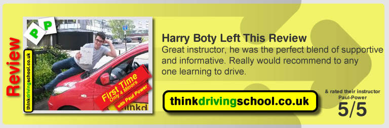 Harry Boty from Watford driving lessons Watford left this awesome review of paul power