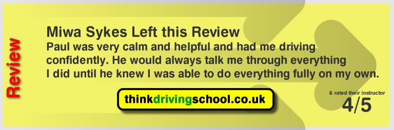Miwa passed and left this review of Watford driving instructor paul power