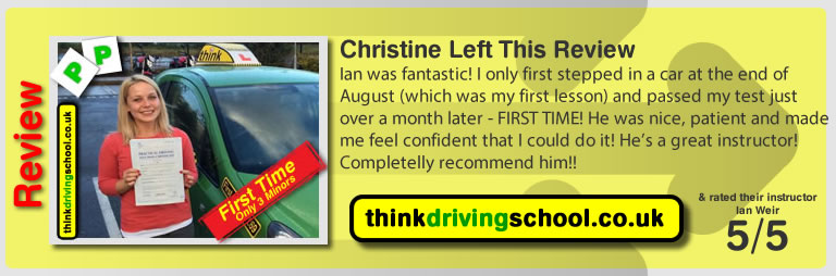 Passed with think driving school in october 2014
