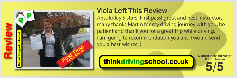 Viola left this awesome review after she passed after drivng lessons in farnborough with martin hurley