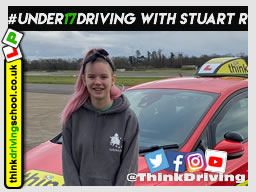 Happy under 17 learner after their 2 hour sessions at dunsfold park with think driving school .