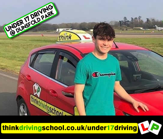 Happy under 17 learner after their 2 hour sessions at dunsfold park with think driving school.