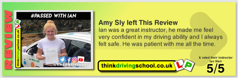 Passed with think driving school in October 2018 and left this 5 star review