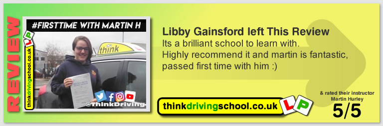 Libby left this awesome review after she passed after drivng lessons in farnborough with martin hurley