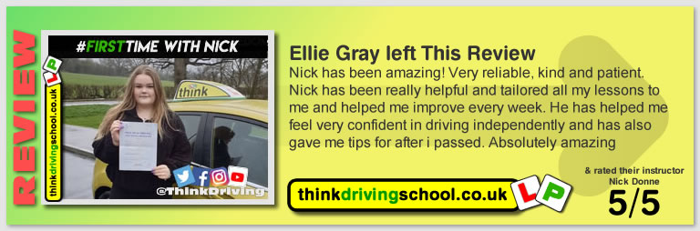 Alexandria passed with driving instructor Nick Donne ADI and left this awesome review of think driving school