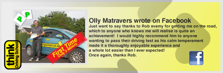 olly matravers left this awesome review of think drivng school and robert evamy adi