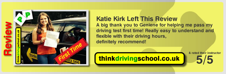 Geniene's first pass with think drivnig school faye from horndean who passed first time