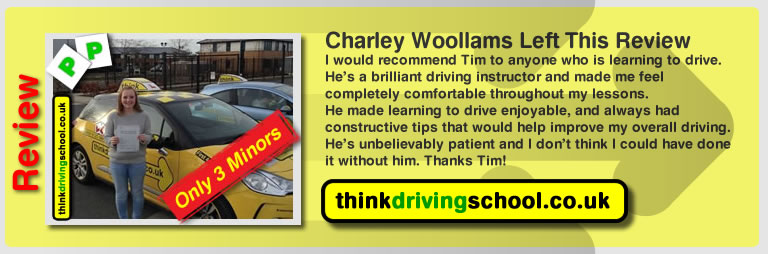 charley woollams left this review of driving instrucotor tim price bowen