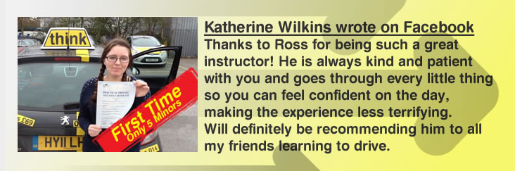katherine left a very good review for ross dunton at think drivng school