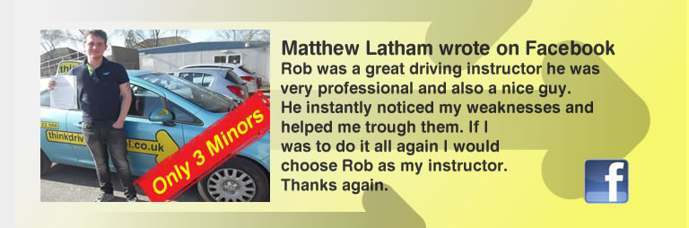 steph webb from liphook passed First time with rob evamy and left this awesome review of think drivingschool