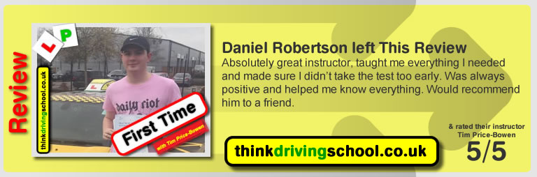 jade jeffreys  left this awesome review of tim price-bowen at think driving school after passing in April 2017