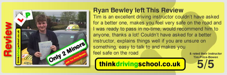Katherine Rowett  left this awesome review of tim price-bowen at think driving school after passing in March 2017