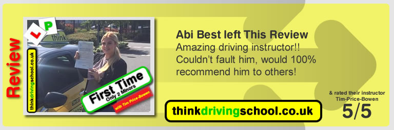 Katherine Rowett  left this awesome review of tim price-bowen at think driving school after passing in April 2017