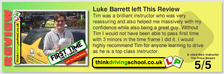 Katherine Rowett  left this awesome review of tim price-bowen at think driving school after passing in March 2018
