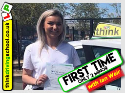 Hannah passed with driving instructor ian weir and left this awesome review of think driving school