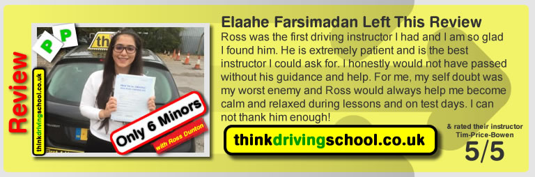 Elaahe Farsimadan passed with ross dunton from guildford driving school after doing an intensive driving course