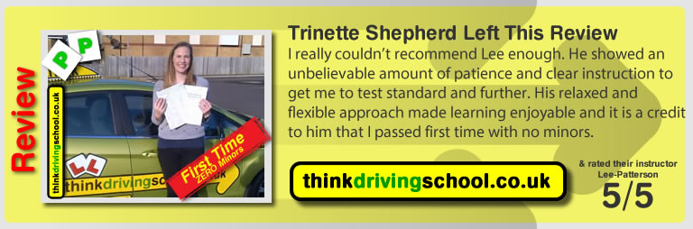 Trinette from fareham left this review of driving instructor in fareham lee patterson