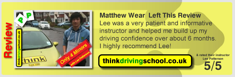 Mathew Wear from fareham left this review of driving instructor in fareham lee patterson