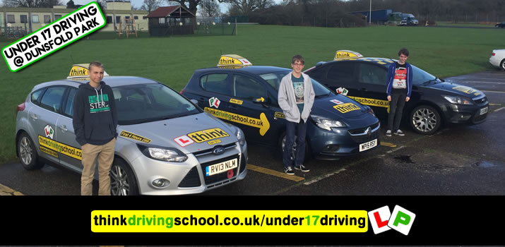 3 Happy under 17 learners after their 2 hour sessions at dunsfoold park with think driving school